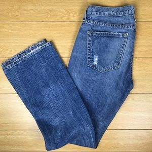 J Crew distressed bootcut denim jeans pants